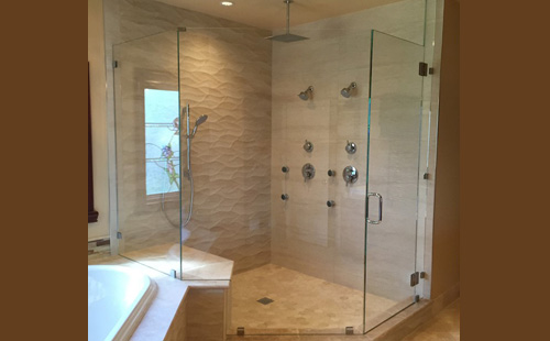 installation san ceiling angled glass patriot and custom shower with enclosure mirror